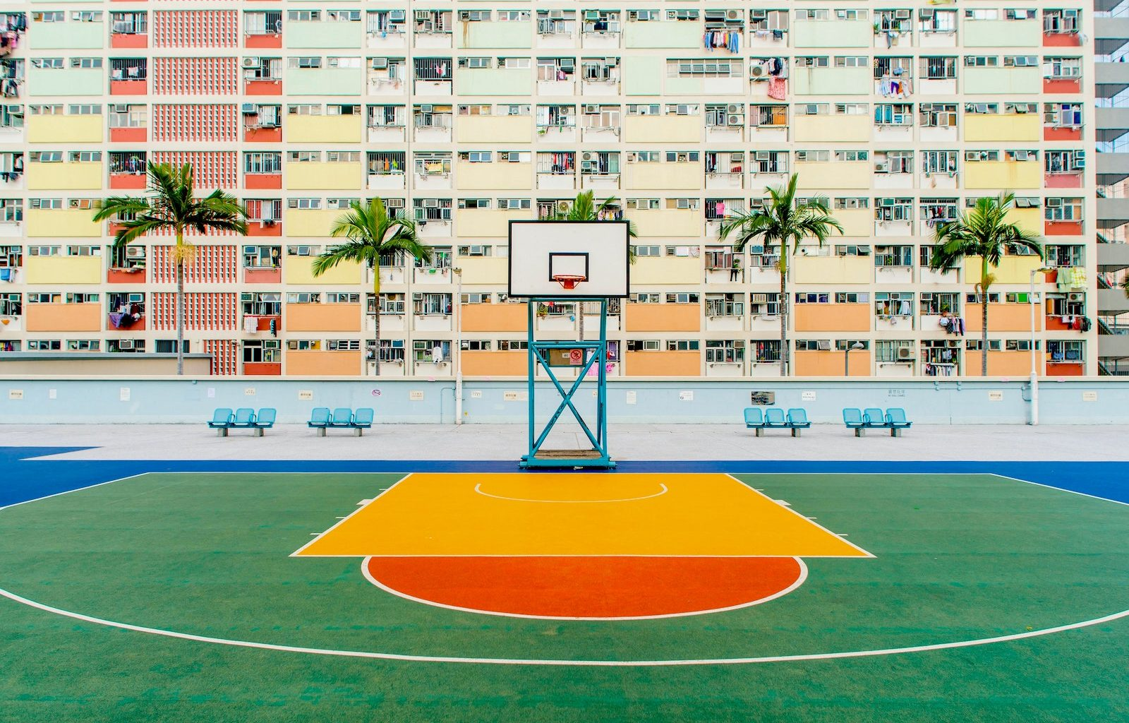 Painting a concrete basketball court